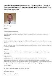 Sample Professional Resume by Detailed Professional Resume For Chris Harding Chemical Engineer Bio U2026