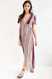 flutter style dress ecote engineered print flutter sleeve maxi dress urban outfitters