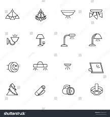 Chandelier Types Types Lighting Indoor Use Line Icons Stock Vector 355561445