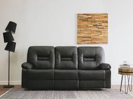 Sofa Bergen Black Faux Leather 3 Seater Bergen Beliani Co Uk