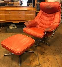 Red Leather Reclining Chair 1970 U0027s 80 U0027s Red Leather Recliner Chair U0026 Footstool In Crystal