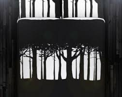 Black And White Tree Comforter Forest Bedding Etsy