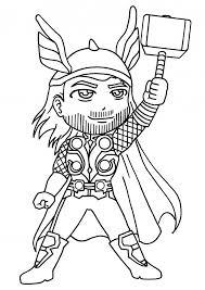 Coloriage Super Héro Thor dessin gratuit à imprimer