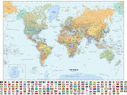 World Map Labled by Classic World Wall Map With Flags