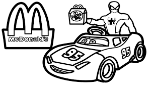 bad baby spiderman mcdonalds drive car videos kids coloring pages