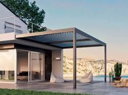 motorized pergola with adjustable louvers with built in lights
