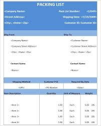 sample packing list for shipping shipping packing list template