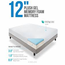 Bamboo Memory Foam Mattress Topper Lucid 12 Inch Gel Memory Foam Mattress Triple Layer 4lb Density Review