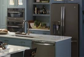what color appliances with blue cabinets gorgeous smudge proof slate appliances ge appliances