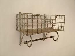 Wall Organiser Wire Metal Shelf And Rail Unit Kitchen Wall Rack Vintage Storage