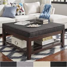 Storage Ottoman Coffee Table Lennon Espresso Planked Storage Ottoman Coffee Table By Inspire Q