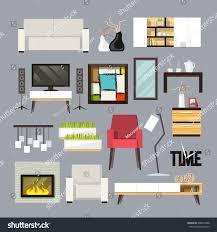 Living Room Furniture Tv Living Room Furniture Decorative Icons Set Stock Vector 268935488
