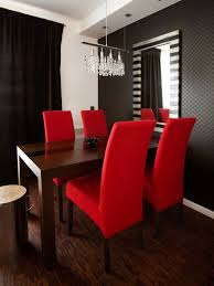 amusing modern open views red dining room with fabric upholstery