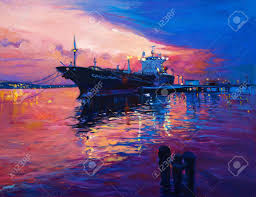 original oil painting of cargo ship and sea on canvas modern impressionism stock photo