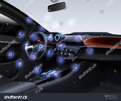 autonomous car interior connected car icons stock illustration