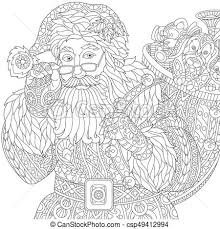 eps vectors of zentangle stylized santa claus christmas coloring