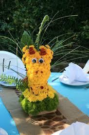 giraffe baby shower centerpiece giraffe yellow fresh flowers