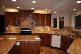 Kitchen Tile Backsplash Designs by Cherry Cabinets With Granite Countertops Home D Elegant Tile