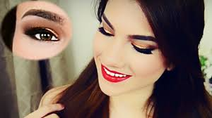 quick holiday glam makeup tutorial gold eyes u0026 red lips youtube