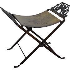 antique oscar bach style iron x base bench stool w winged