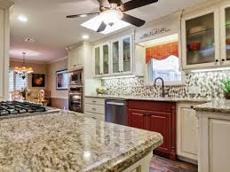 kitchen ceiling fan and granite countertops with two tone kitchen