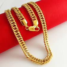 gold chain necklace woman images Aziz bekkaoui 24k gold plated necklace men women long chain heavy jpg