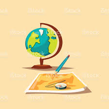 Map Globe Travel Planning Map Globe And Compass Cartoon Vector Illustration