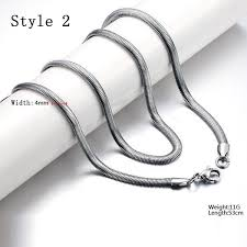 chain necklace men images Exquisite men titanium steel oblate flat snake chain necklace us jpg