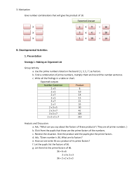 lesson plan in elementary mathematics five