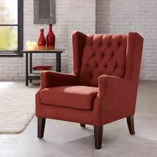 Red Dining Room Chair Amazon Com Button Tufted Wing Chair Red Maxwell Kitchen U0026 Dining