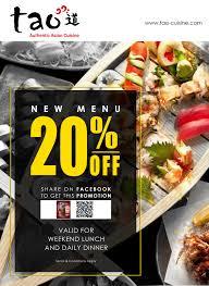 cuisine promotion tao cuisine october promotion menu 20