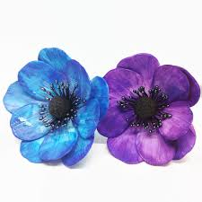 purple and blue flowers anemone sugar flowers watercolor painted in blue or purple for