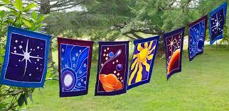 Green Flag With Star And Moon Celestial Sun Moon Star Planet Prayer Flag String Bali Batik Art