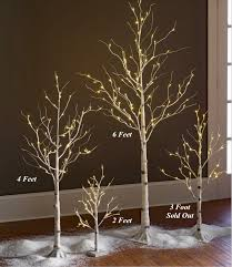 led tree lighted white birch tree 4 foot 48 warm white led s indoor