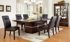 lawrence 7pc dark cherry formal dining room table set led lights