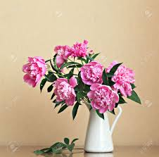 bouquet of peonies blooms in vase stock photo picture and royalty