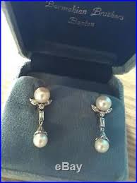 1960 s earrings vintage 1960 s pearl and diamond drop earrings 14k white gold euc
