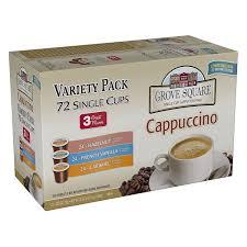 Cappuccino Cups Amazon Com Grove Square Cappuccino Variety Pack 72 Single Serve