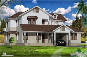 slope house plans sloping roof villa exterior elevation kerala home design floor