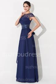 Wedding Dresses Under 100 Elegant Chiffon Lace Blue Long Bridesmaid Dress Short Sleeve