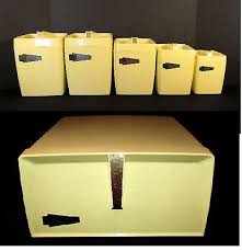 plastic kitchen canisters vintage 6 pc yellow plastic kitchen canisters breadbox mid