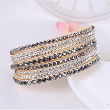 rhinestone leather wrap bracelet images Leather bracelet rhinestone crystal bracelet wrap multi layer jpg
