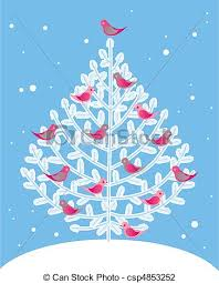 vector illustration of christmas tree and red birds vector