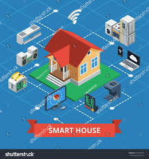 smart house isometric concept variants wireless stock vector