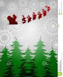 santa sleigh reindeer trees silver background royalty free stock