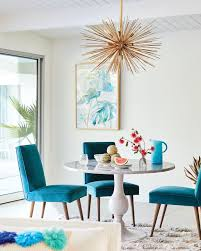 House And Home Decor by Teal Dining Room Chairs And Gold Light Fixture Colorful And