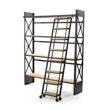 Rolling Ladder Bookcase Furniture Good Black Painted Rolling Library Ladder With Black