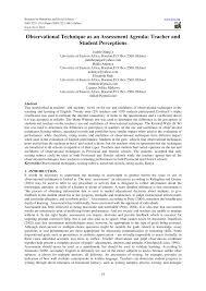 observational technique as an assessment agenda teacher and