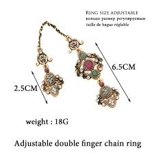 crystal chain rings images Double finger ring turkish women antique crystal chain rings jpg