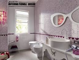 bathroom with vessel sink and purple mosaic tiles magnificent